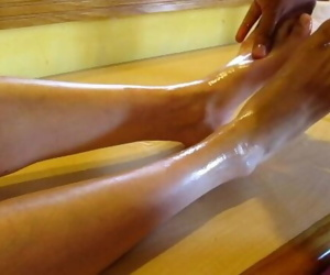 Massaging my feet with oil..