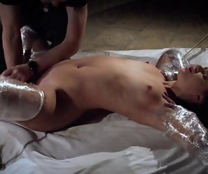 Rough bondage slapping her..