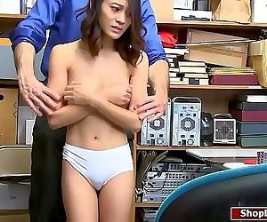 Asian shoplifter fucked by..